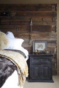 Reclaimed wood headboard; Jane Ashton